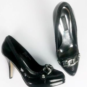 WHBM Black Patent Leather Heels with Chains